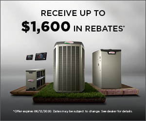 Rebate Disclaimer: Rebate requires purchase of qualifying items between February 24, 2020 to June 12, 2020. Qualifying items must be installed by June 19, 2020. Rebate claims (with proof of purchase) must be submitted (with proof of purchase) to www.lennoxconsumerrebates.com no later than July 3, 2020. Rebate is paid in the form of a Lennox Visa® Prepaid card. Card is subject to terms and conditions found or referenced on card and expires 12 months after issuance. Conditions apply. See www.lennox.com/terms-and-conditions for complete terms and conditions.